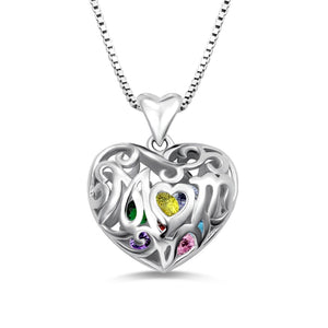 Mom Swirl Heart Encased Birthstone Necklace