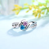 Double Birthstone with Shimmering Diamond Accents