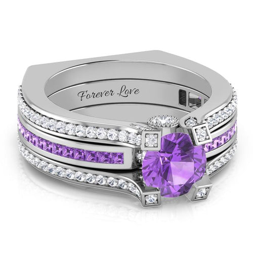 Interchangeable (February) Amethyst Birthstone Ring