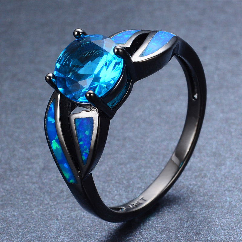 sapphire created princess cushion ring opal and frame lab white cut