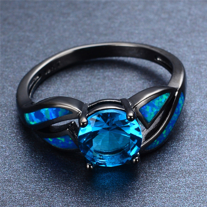 Ocean Sapphire Blue Fire Opal Stone Ring Madison Audrey