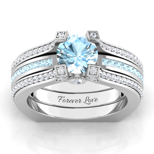 Interchangeable (March) Aquamarine Birthstone Ring with White Diamond Accent stones