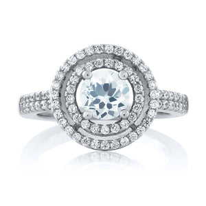 Pure 1.71 Ct Round Natural Sky Blue Aquamarine March Birthstone Ring