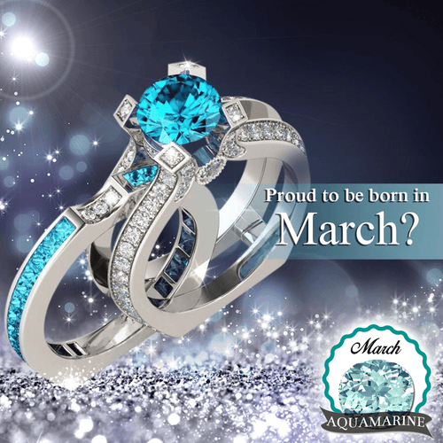 Silver Aquamarine (March) Birthstone Ring