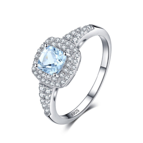 1.0 Carat Natural Aquamarine Halo March Birthstone Ring