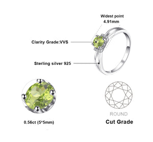 Exquisite 0.6ct Round CZ Peridot August birthstone Ring