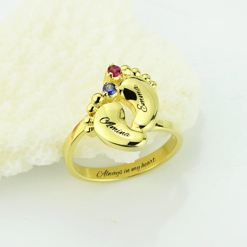 Cute Little Feet with 2 Stones Ring