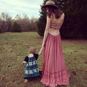 Bohemian long backless cotton dress