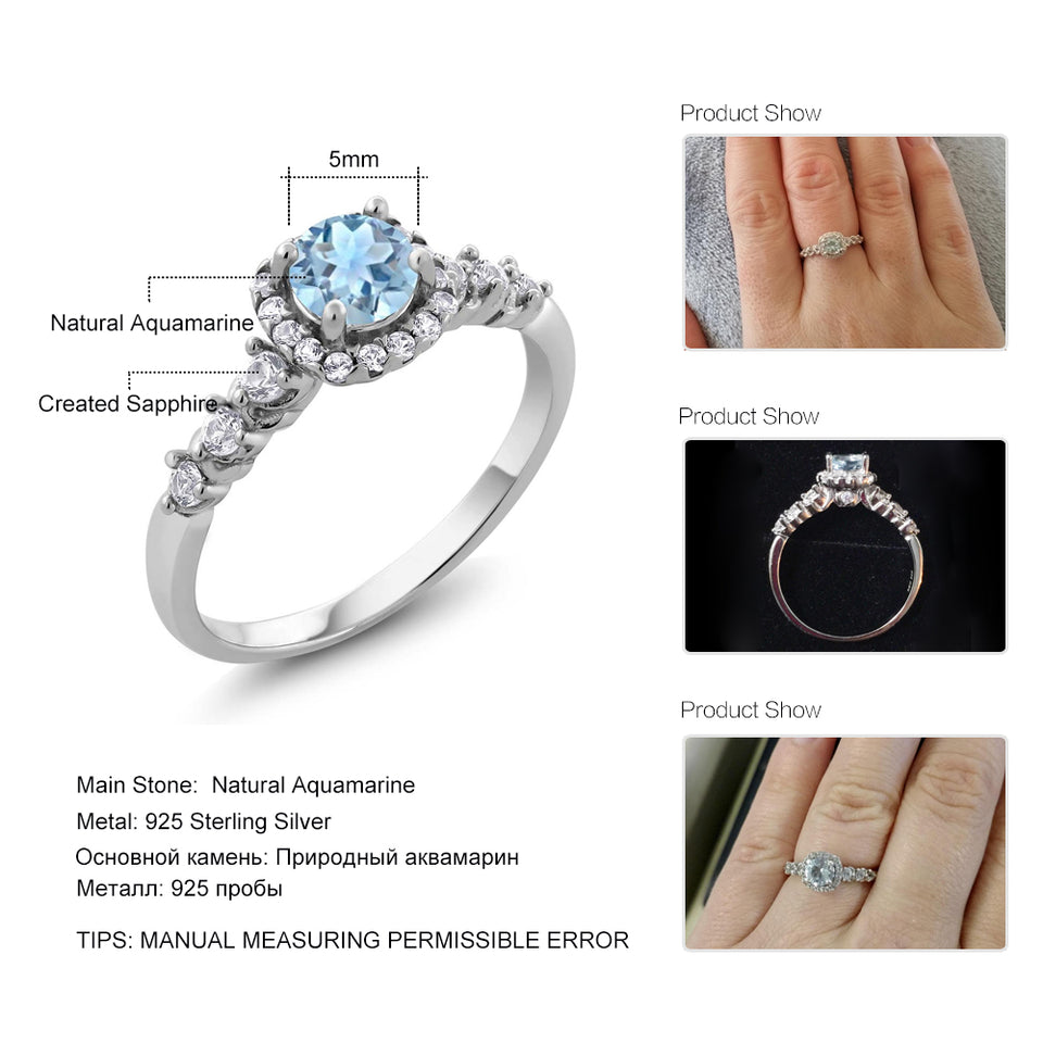 0.87 Ct Round Natural Sky Blue Aquamarine with White Topaz accent stones ( March Birthstone ) Ring