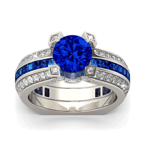 September (Blue Sapphire) Birthstone Ring Set