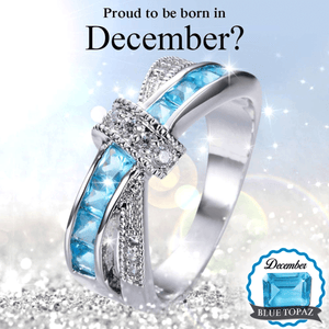 December Blue Topaz Natural Birthstone Ring