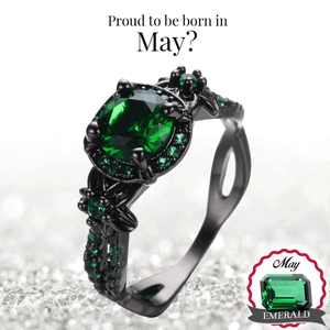 Emerald Ring Black (May Birthstone)