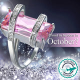 October (Tourmaline) Birthstone White Gold Ring