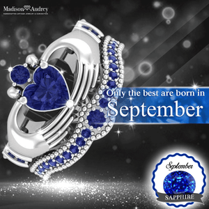 White gold (September) Sapphire Heart Birthstone Ring