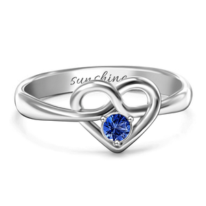 Cursive Heart Birthstone Ring