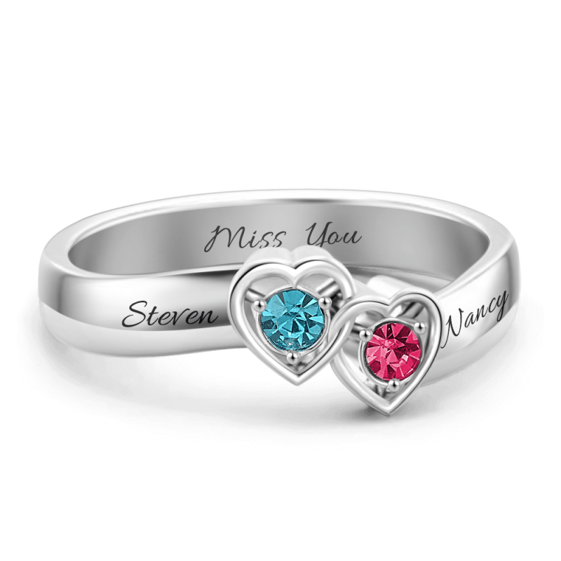 Double Heart Personalised Promise Crystal Ring