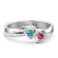 2 Hearts Promise Crystal Ring