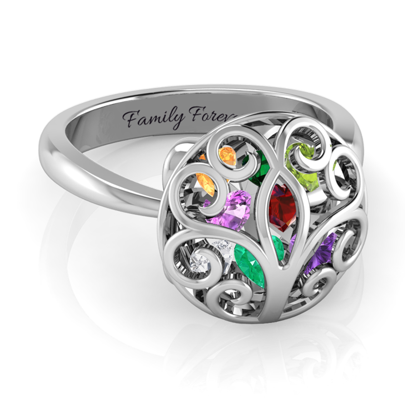 Family Tree Encased Ring ( Up to 8 Heart Birthstones )