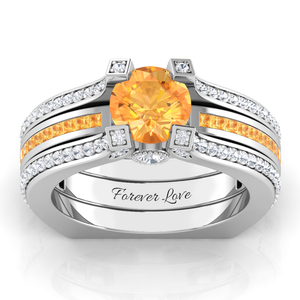 Interchangeable (November) Citrine Birthstone Ring
