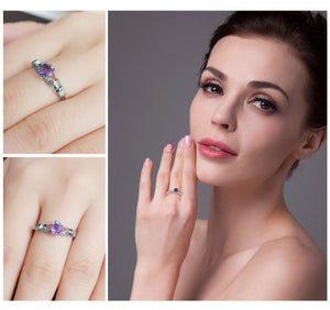 February Birthstone (Amethyst) Claddagh Ring