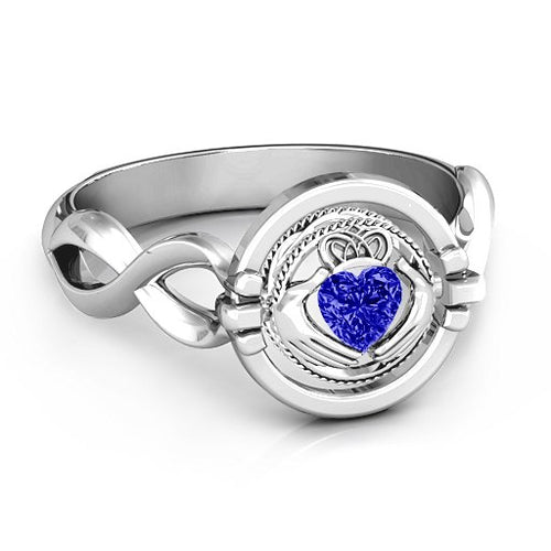 Claddagh Twist 360 Birthstone Ring