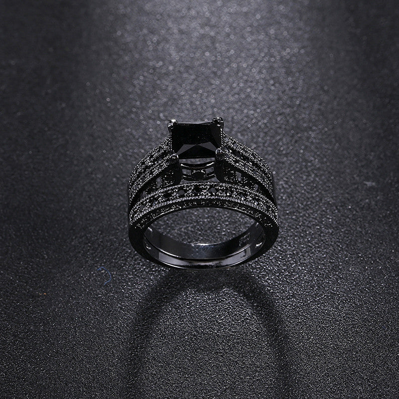 Classic Black CZ Diamond Paved Rings Sets