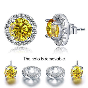 Removable 1.25 Carat  Sparkle Halo Citrine Earrings