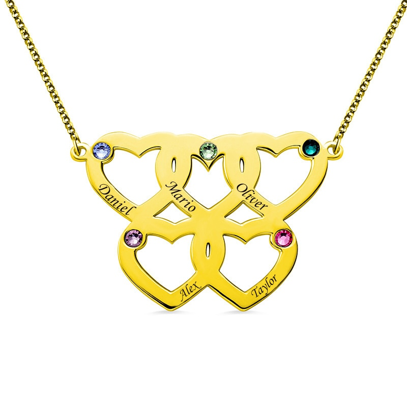 Olympic Hearts Birthstone Necklace