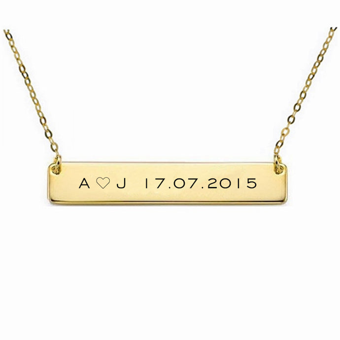 Gold/Silver Customized Engraved Necklace Bar Pendant Necklace.