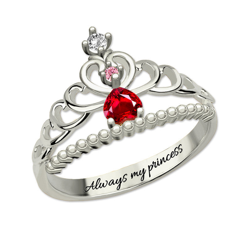 Customized Princess Tiara Birthstone Ring + Free Engraving