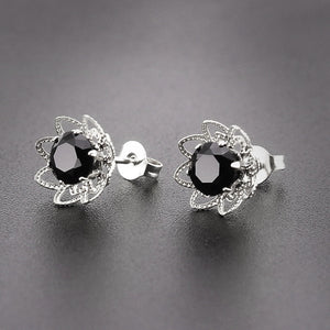 Hollow Rose Flower Birthstone Earrings