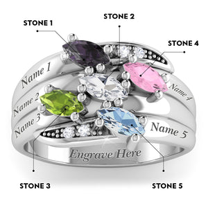 5 Precious Marquise Gems with Diamond Accent Stones