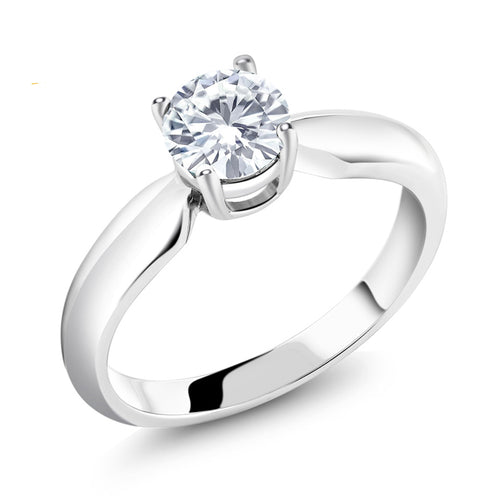Moissanite Solitaire with 0.65 ct Round Diamond Ring ( April Birthstone)