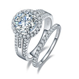 Halo 3.45ct White Diamond Topaz April Birthstone Ring