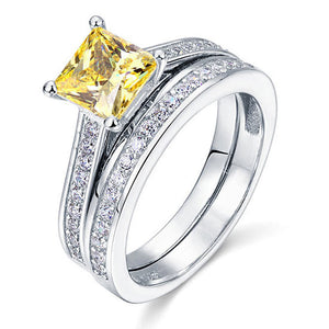 November Citrine 1.5 Ct Princess Cut 2-Pcs Ring Set