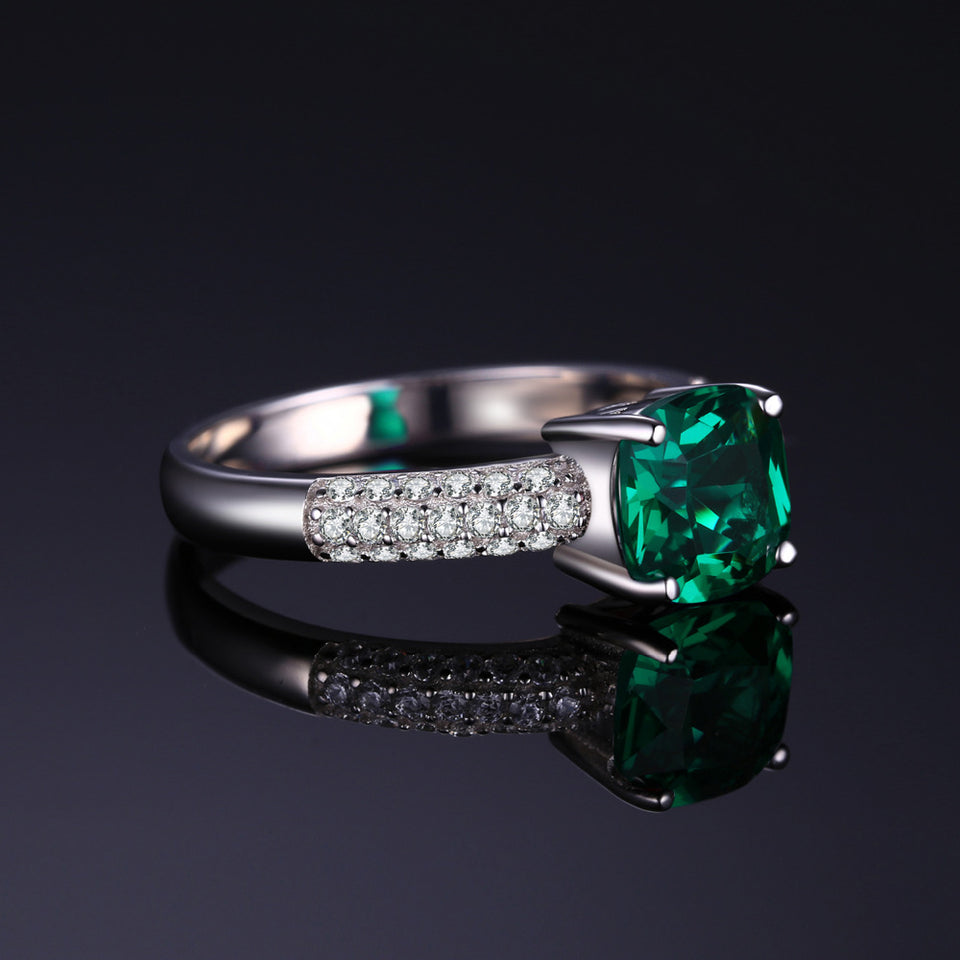 Exquisite 1.7 ct Cushion Cut Emerald Ring ( May Birthstone)