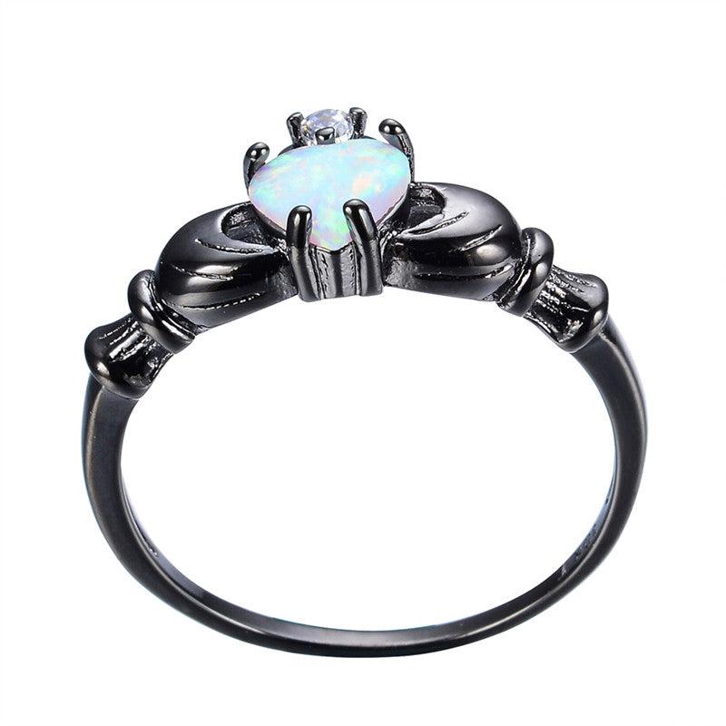 Pure Black Gold Elegant Heart Cut Rainbow Opal Claddagh Ring