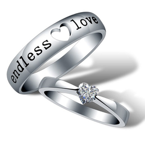 "925 Sterling Silver ""Endless Love"" Heart Zircon Diamond Couple Rings"