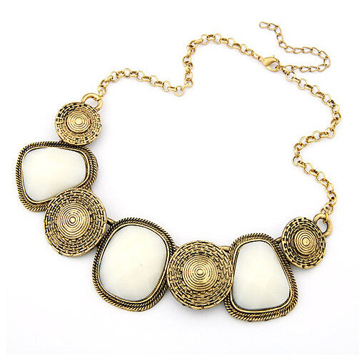 Wild geometric squares Statement necklace