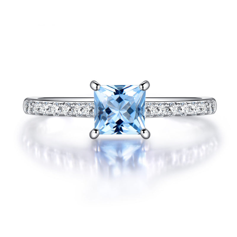 Exquisite Sky Blue Aquamarine March Birthstone Ring