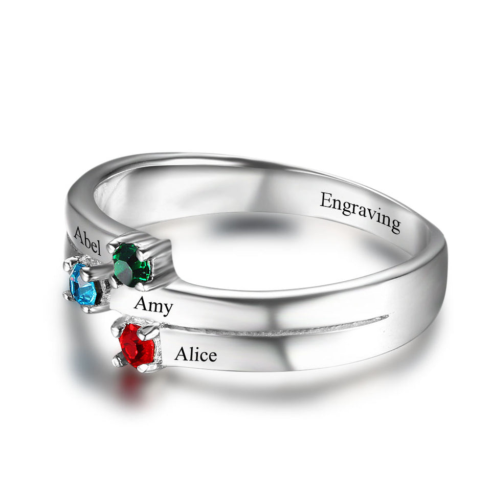 The Perfect Birthstone Piece (3 stones & 4 names engraving)