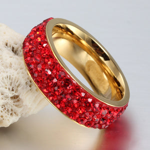 Full Paved Red Crystal Stainless Steel Ring (January)