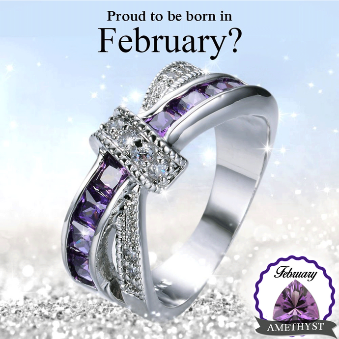 February Birthstone White Gold Filled Ring