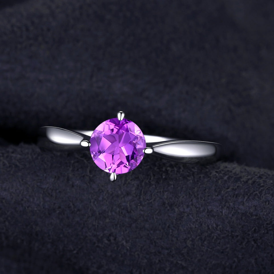Round 0.8ct Genuine February Amethyst Birthstone Ring