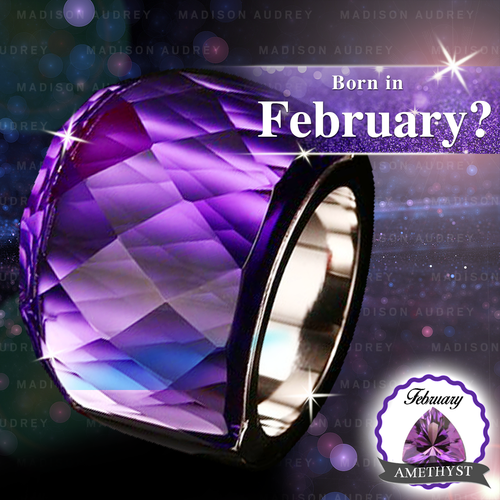 Geometric Amethyst February Birthstone Crystal Ring