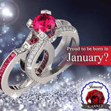 5A Cz 925 Sterling Silver Garnet (Jan) Birthstone Ring