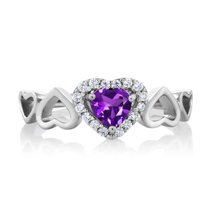 Elegant 0.56 Ct Heart Shape Purple Natural Amethyst February Birthstone Ring
