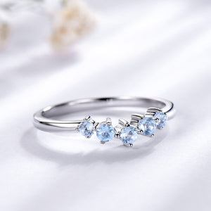 Genuine Natural Blue Topaz Aquamarine (March) Birthstone Ring