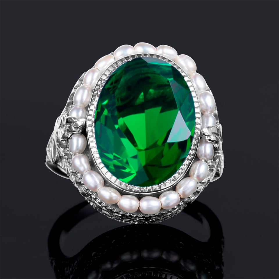 Vintage Green Emerald  with Genuine Pearl Stones  (May) Birthstone Ring