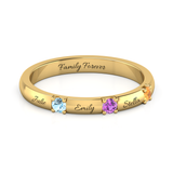 Exquisite Triple Gemstone Ring + (Up to 4 Engravings)